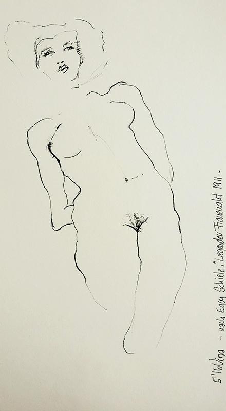 """Zeichnung nach Egon Schiele """"Liegender Frauenakt"""" 1911"""
