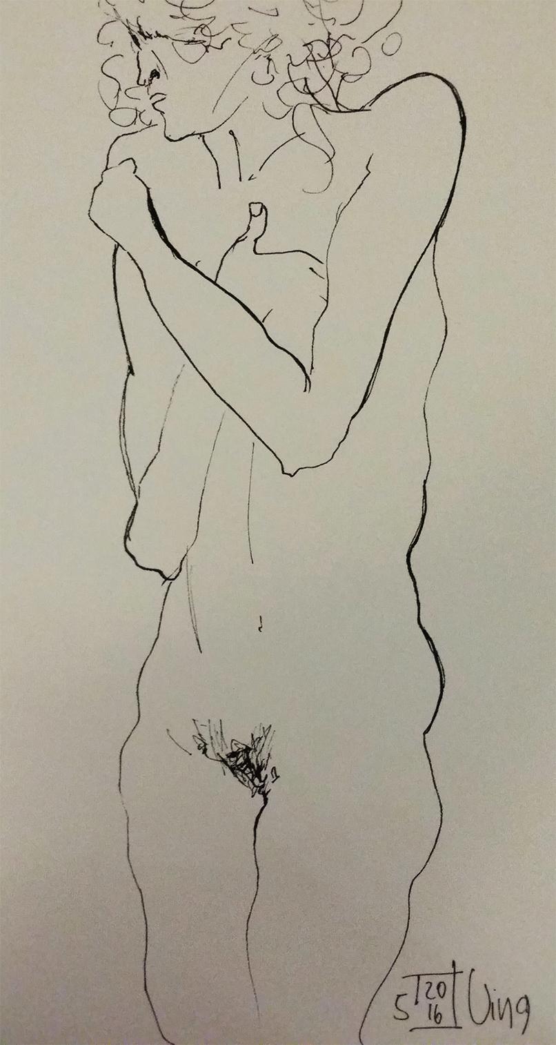 Zeichnung frei nach Egon Schiele